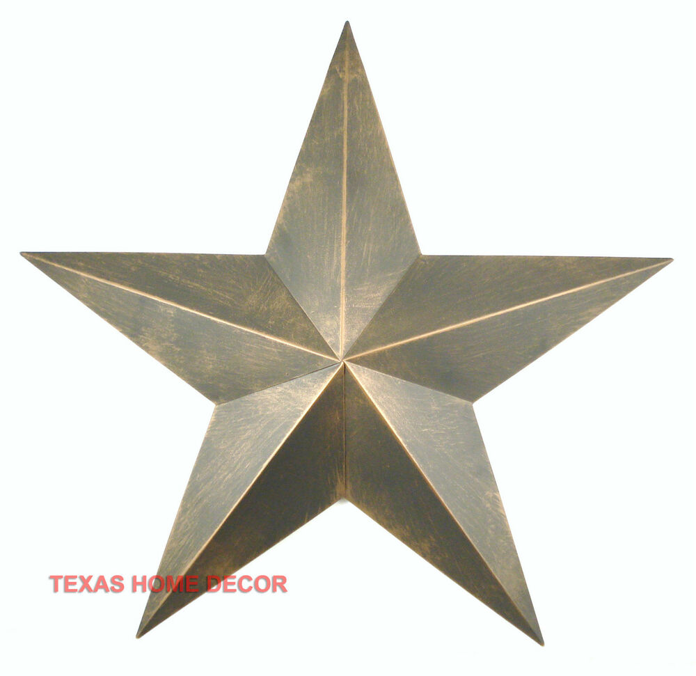 22 tin metal barn star western rustic wall decor non rust copper brown ebay. Black Bedroom Furniture Sets. Home Design Ideas