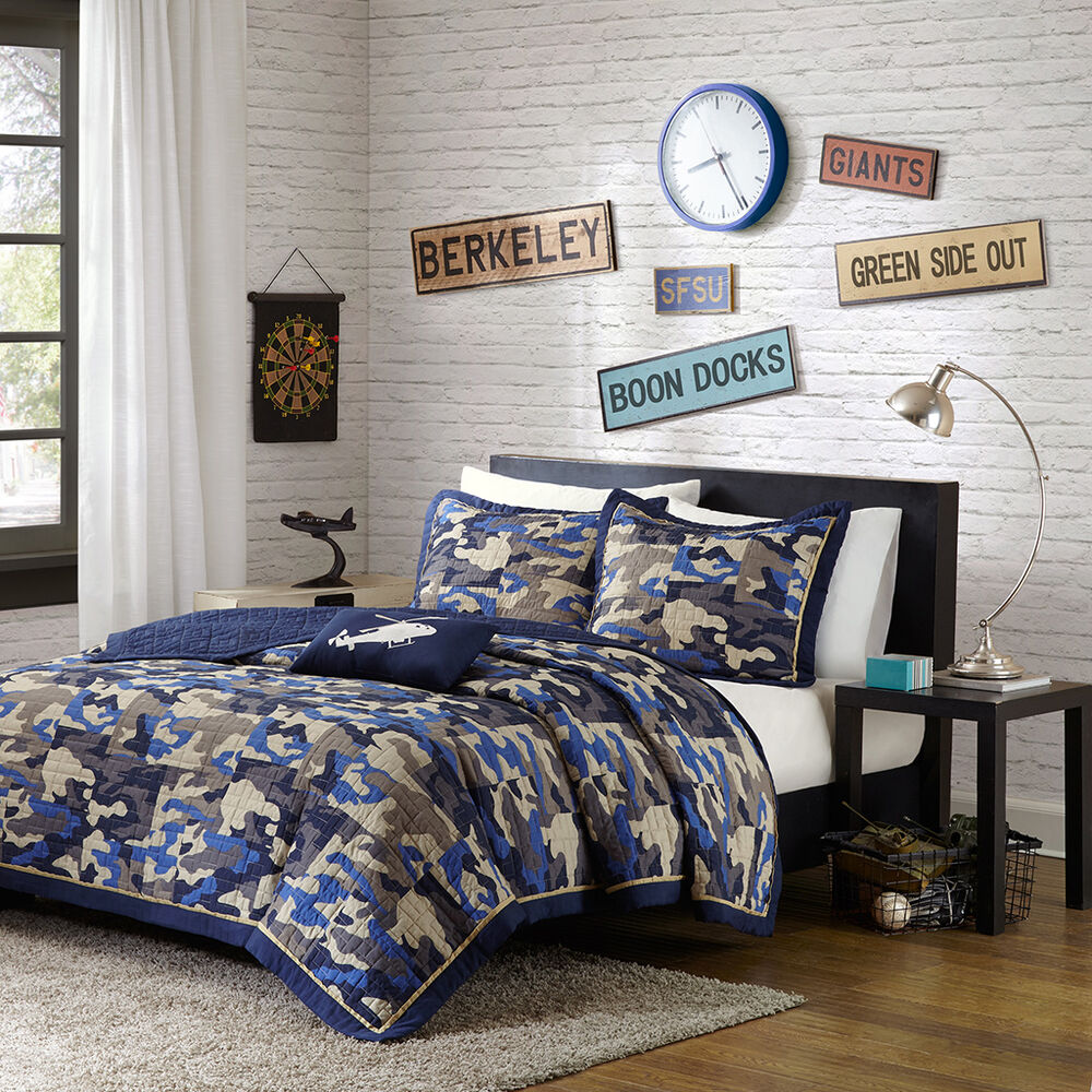 Modern boys camo army camouflage blue brown grey navy for Camouflage bedroom ideas for kids