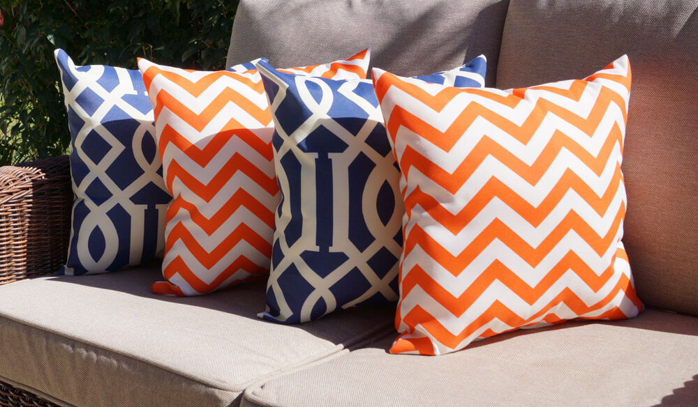 Throw Pillows Set Of 4 : Chevron Orange and Kirkwood Admiral Outdoor Decorative Throw Pillows - Set of 4 eBay