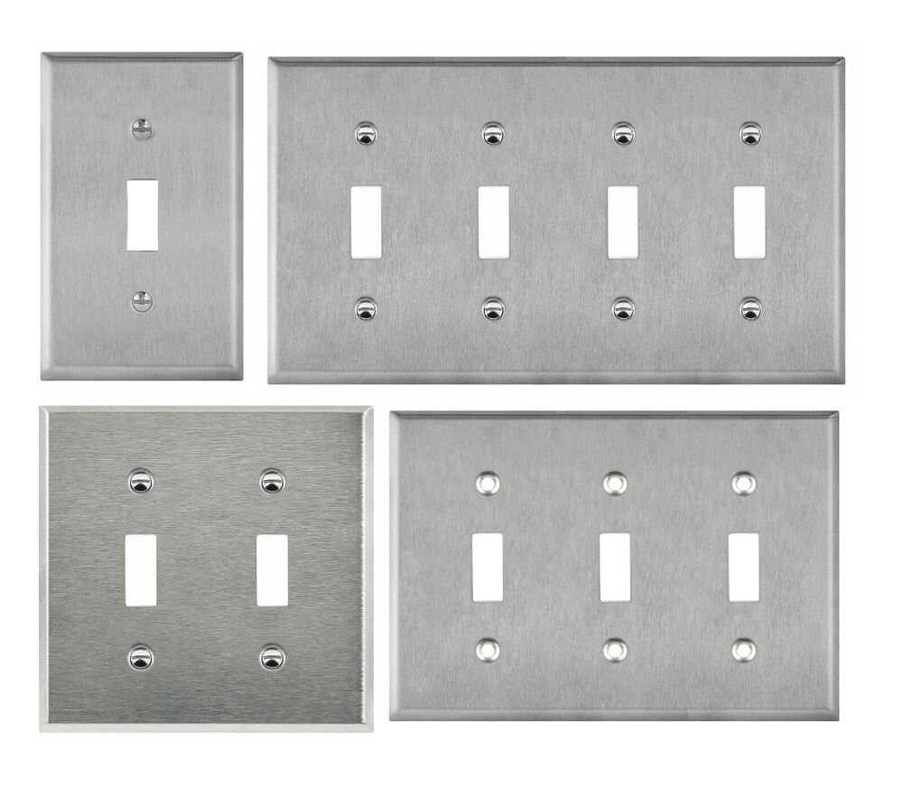 Brushed stainless steel toggle switch outlet cover metal
