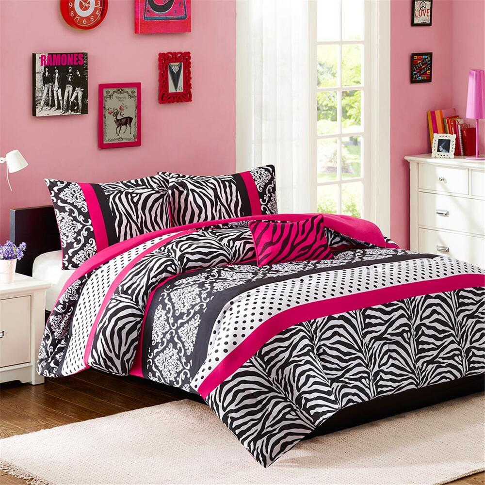 beautiful pink black polka dot stripe girl zebra leopard comforter set pillows ebay. Black Bedroom Furniture Sets. Home Design Ideas