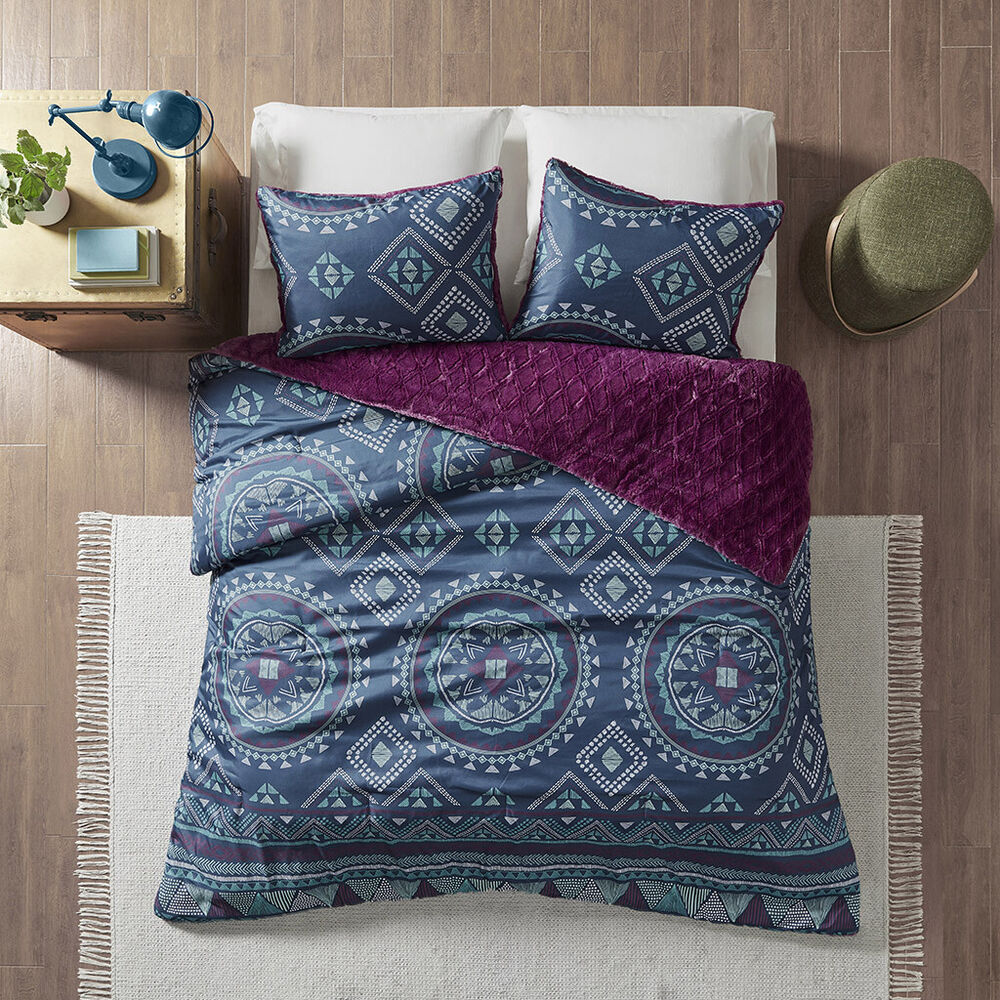 beautiful modern chic grey purple blue aqua teal tropical bohemian comforter set ebay. Black Bedroom Furniture Sets. Home Design Ideas