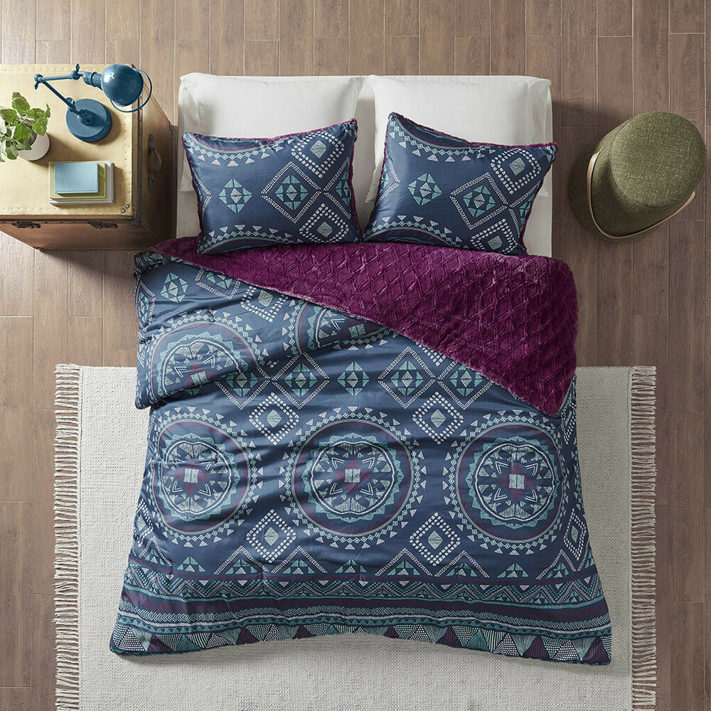 Beautiful modern chic grey purple blue aqua teal tropical bohemian