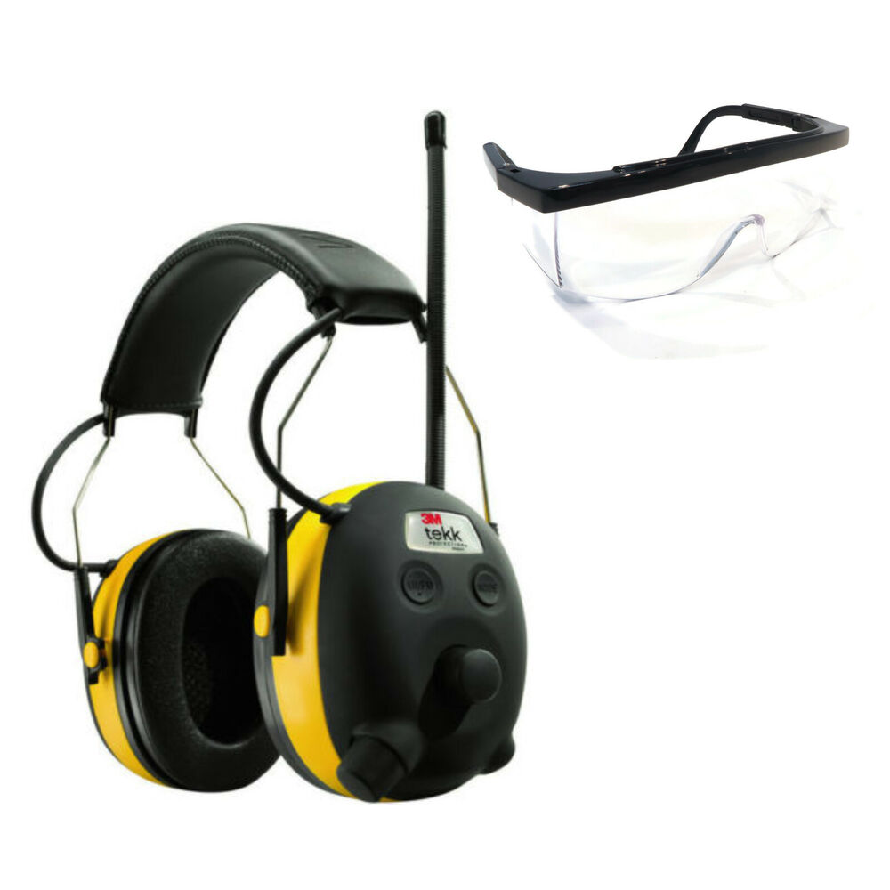 PELTOR WORKTUNES AM FM MP3 Radio HEADPHONES Hearing PROTECTION w/ SAFETY Glasses | eBay