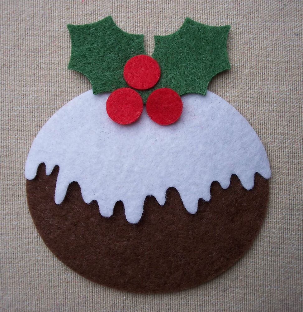Bulk x12 felt christmas puddings die cuts bunting tree for Applique decoration