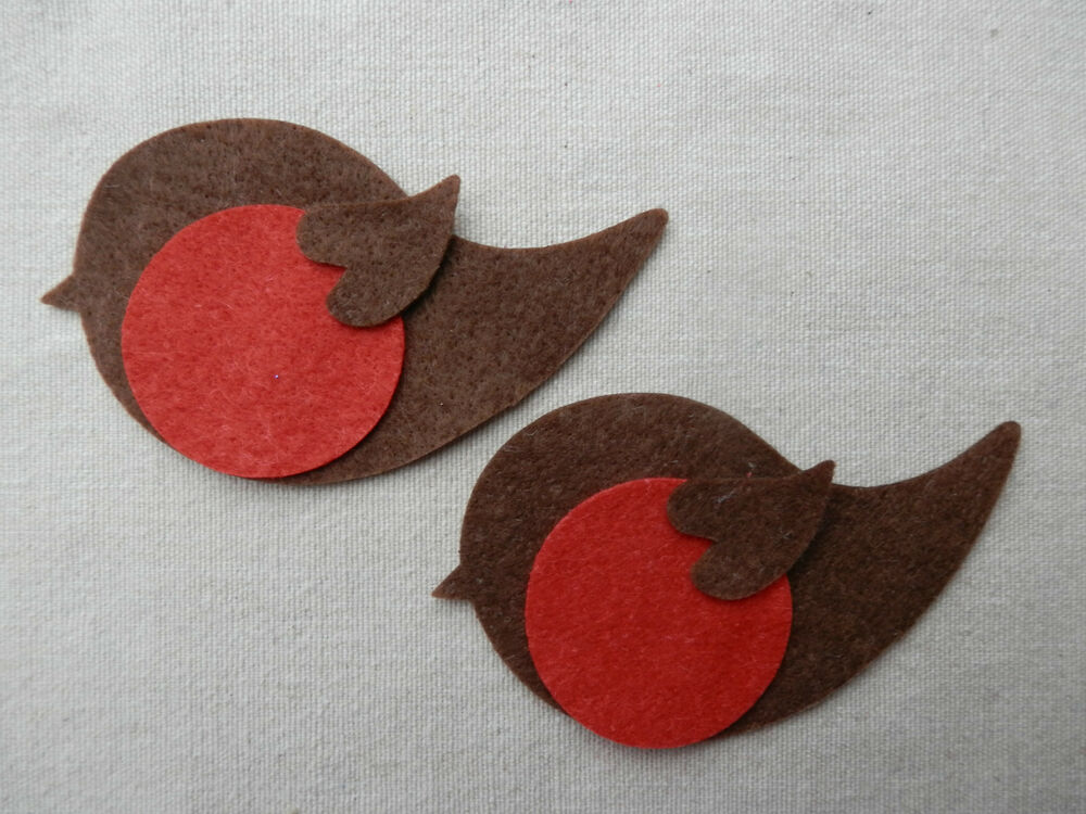Bulk x24 felt robin bird die cuts christmas bunting for Applique decoration