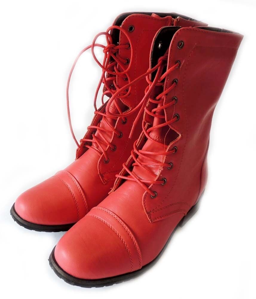 Excellent  Womens Military Combat Fashion Boots Lace Up Knee High Low Heel Boot