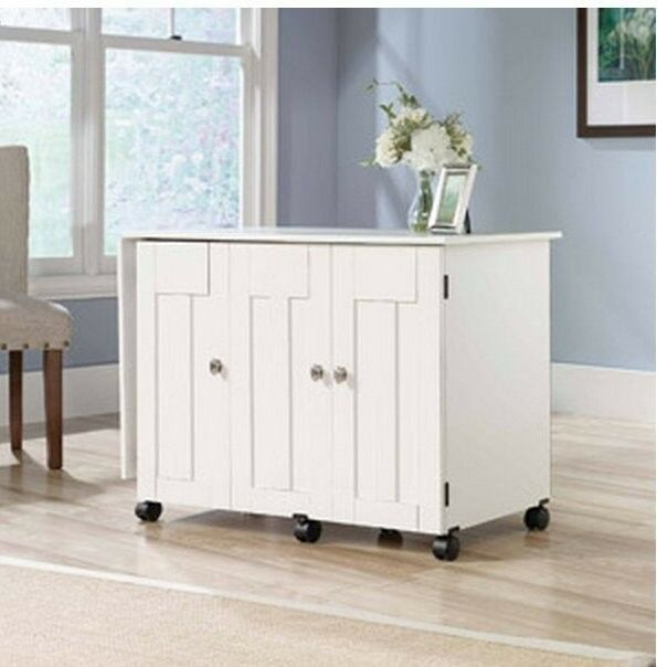 Craft Cabinet Images About Craft Storage On Craft Storage: NEW Sauder Sewing & Craft Table Drop Leaf Shelves Storage