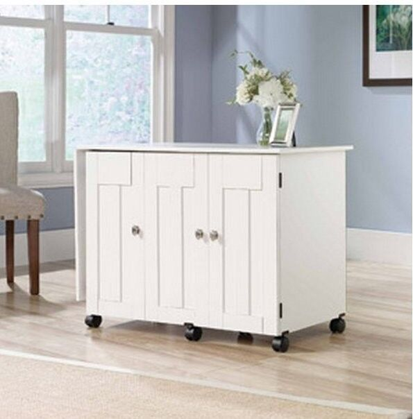 New Sauder Sewing Amp Craft Table Drop Leaf Shelves Storage