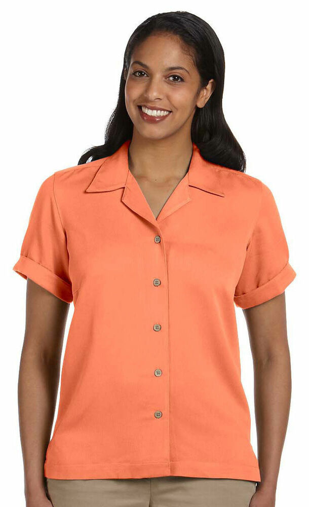Devon jones women 39 s rolled short sleeve cuff isla camp for Women s long sleeve camp shirts