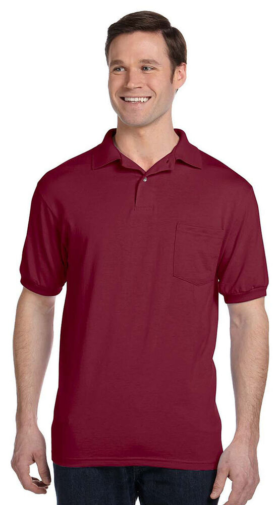 Hanes men 39 s ecosmart double needle two button placket for Two pocket polo shirt