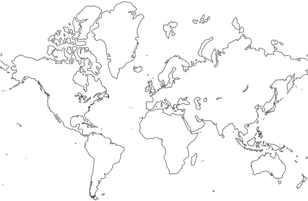 BLANK WORLD MAP GLOSSY POSTER PICTURE PHOTO Globe Earth City - Blank world map with lines