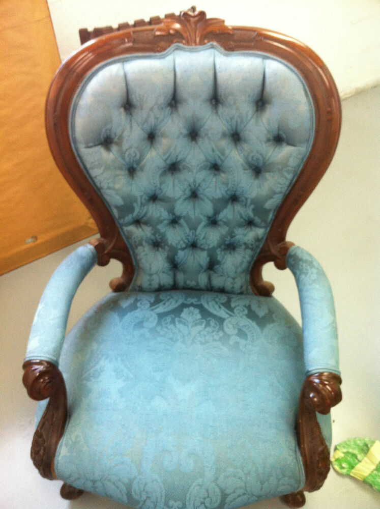 Antique Wooden Carved Chair ~ Antique slipper chair blue damask fabric carved wood legs