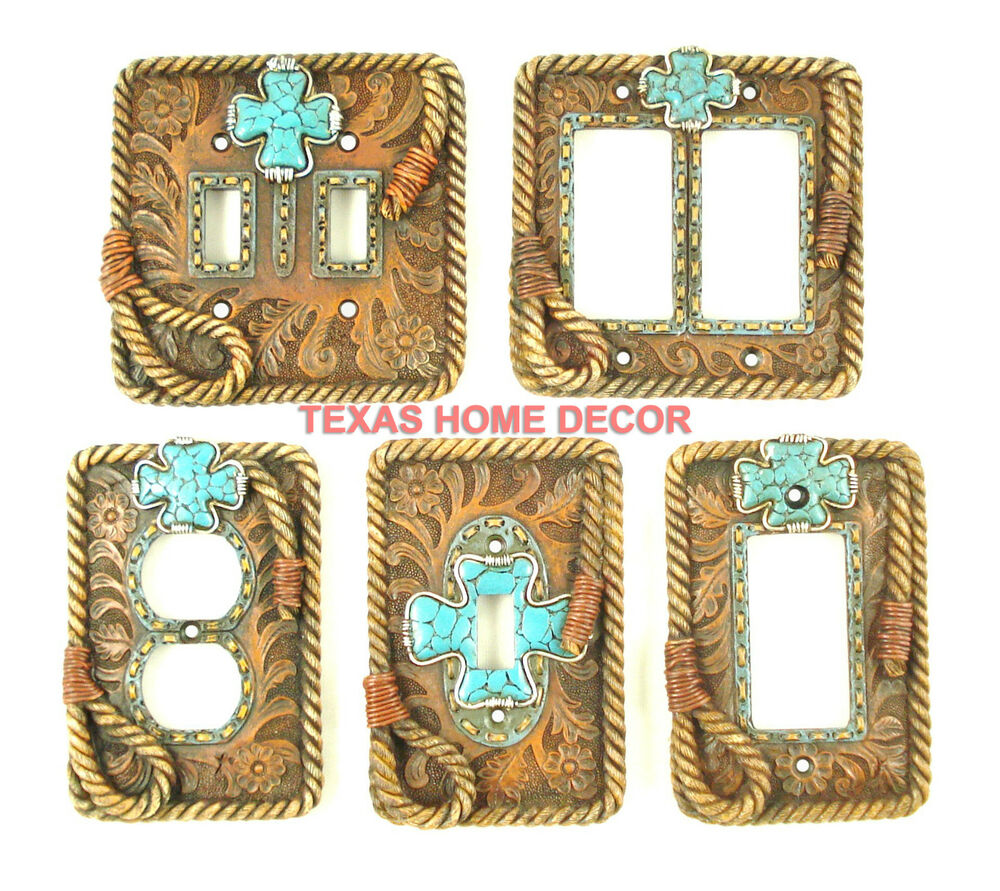 Western Rustic Switch Plate Covers Turquoise Cross Floral