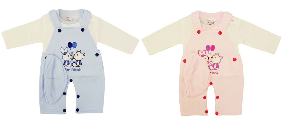 4e5e7982a109 Baby Boy Girl Warm Dungarees Winter Teddy 3pc Outfit Top Hat ...