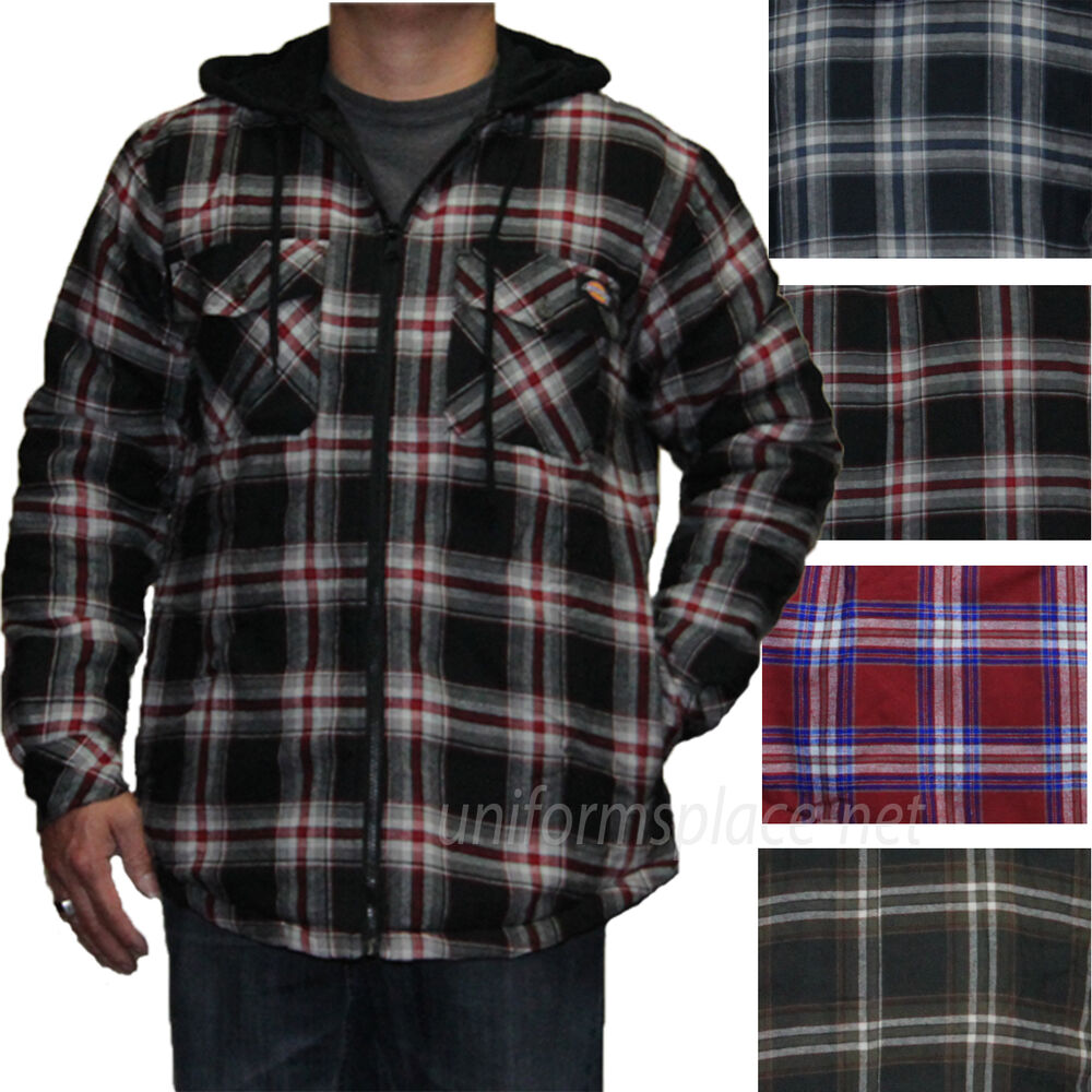 Dickies Jackets Mens Quilted Flannel Fleece Hooded Insulated Lined ...