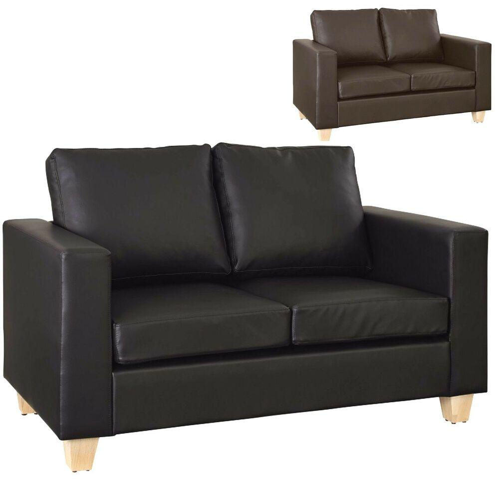 2 Seater Sofa Black Or Brown Faux Leather Modern Design Living Room Office Ebay