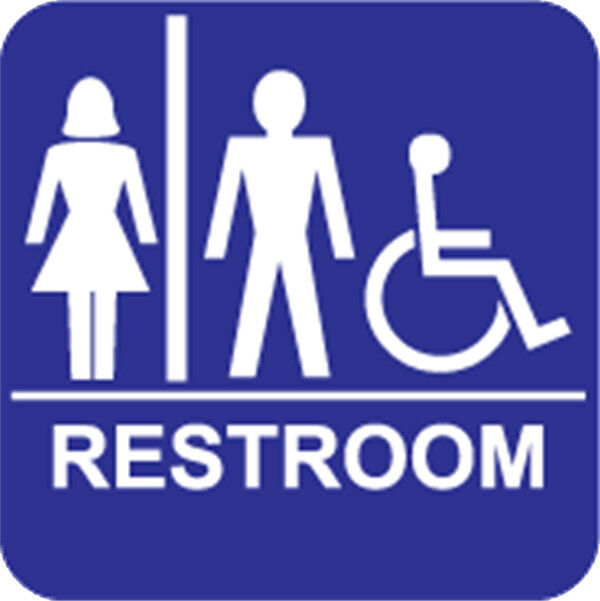 Handicap ada unisex accessible restroom sign ebay for Unisex handicap bathroom sign