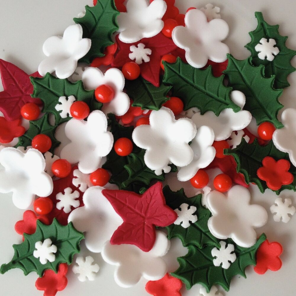 Sugar Cake Decorations For Christmas : CHRISTMAS CAKE TOPPERS Edible Sugar Paste Flowers Cup Cake ...