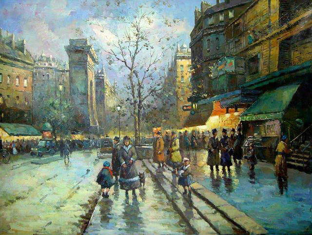 Oil Painting Beautiful Paris Street Scene With People In