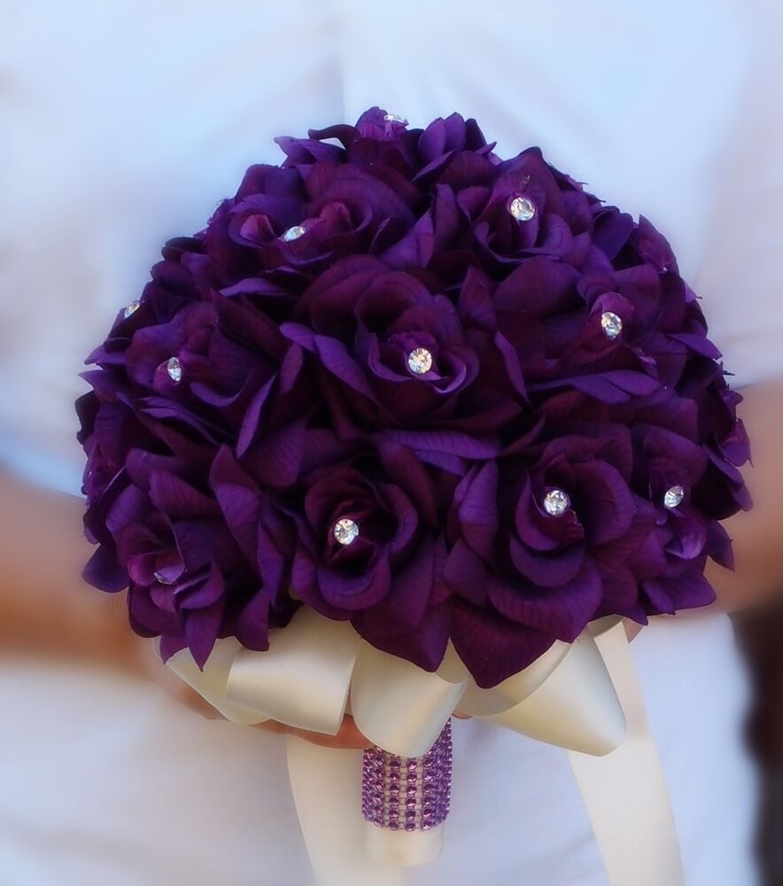 Flower Wedding Bouquet: 2 Bouquets-bridal Flower Girl/Toss-purple,lavender