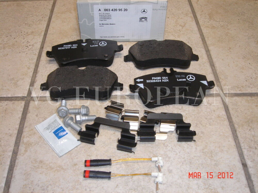 mercedes w203 c class genuine front brake pad set pads w sensors c230 c240 c320 ebay. Black Bedroom Furniture Sets. Home Design Ideas