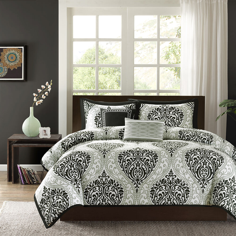 chic elegant black silver grey white comforter set 2 pillows ebay
