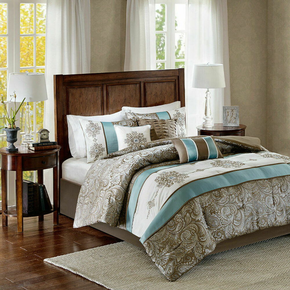 BEAUTIFUL MODERN CHIC ELEGANT BLUE NAVY SILVER GREY SCROLL COMFORTER