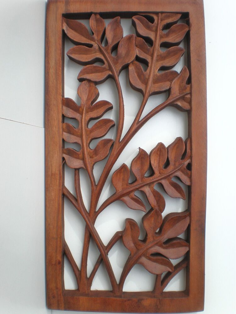 Bali leaf wood carved wall art hanging relief carving