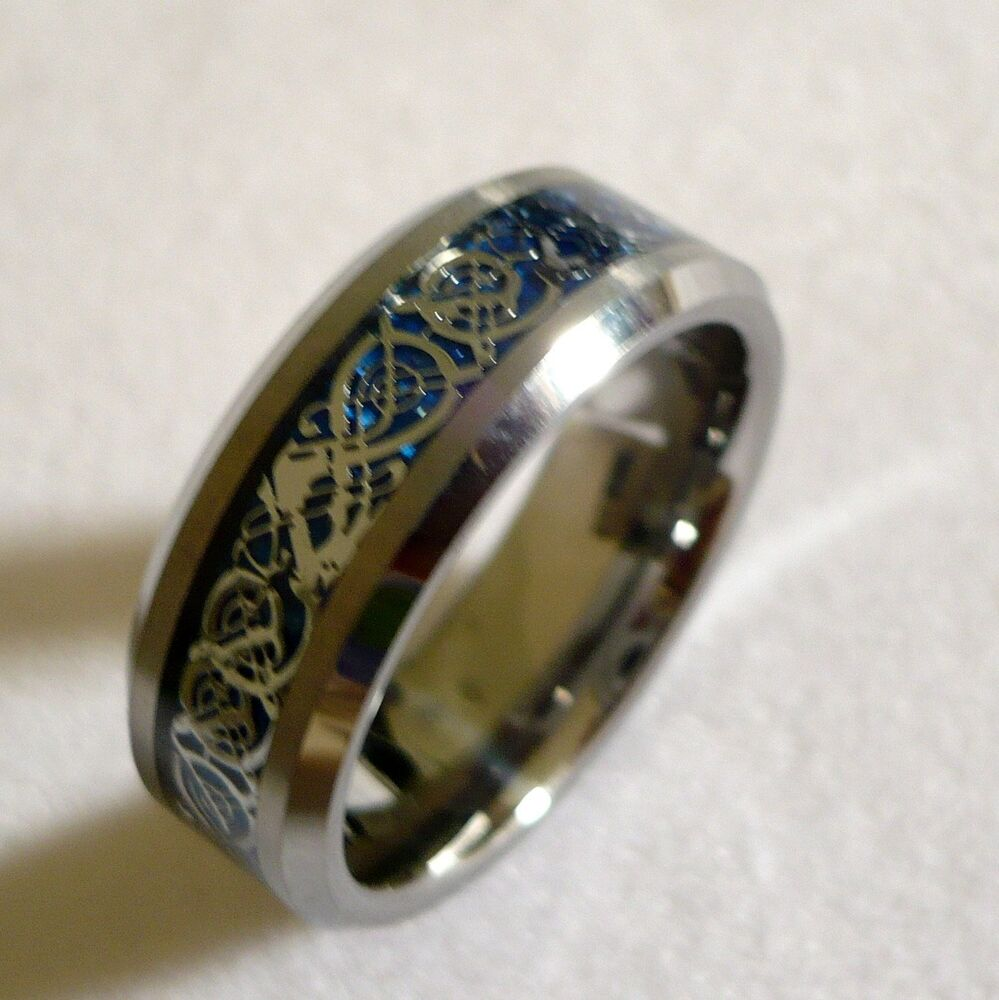8mm men39s tungsten carbide celtic dragon pattern wedding for Tungsten celtic wedding ring