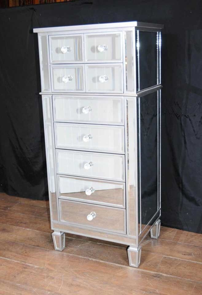 art deco mirror chest drawers tall boy mirrored furniture ebay. Black Bedroom Furniture Sets. Home Design Ideas