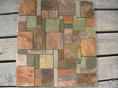 Slate Mosaic Tile Random Pattern Flooring Walls Backplash