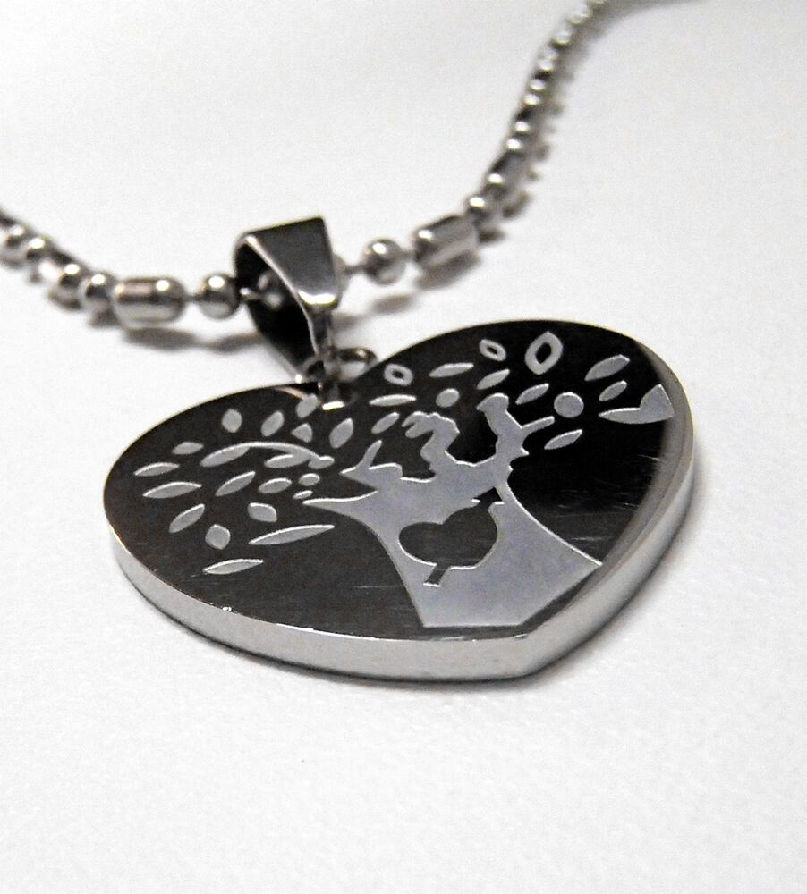 Stainless Steel Heart with Tree Pendant Necklace