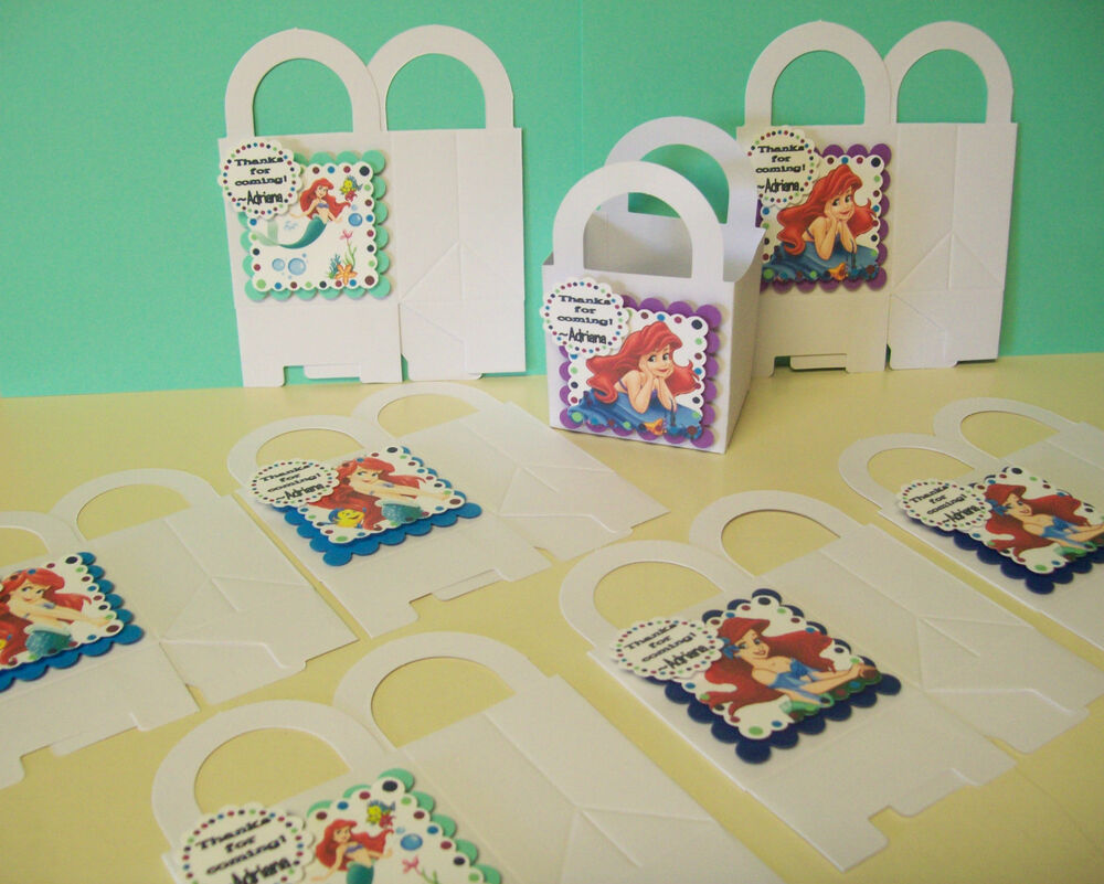 Personalized Party Favor Boxes Birthday : The little mermaid personalized boxes birthday party