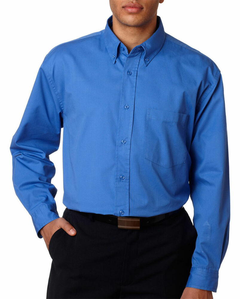 Ultraclub Men 39 S Button Down Collar Long Sleeve Chest