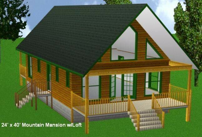 24x40mm cabin w loft plans package blueprints material for W loft