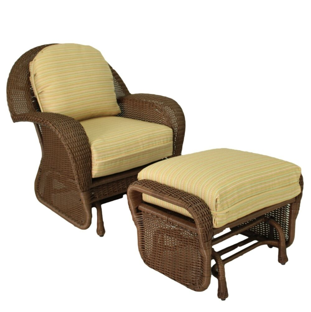 Outdoor resin wicker glider set suncoast furniture casa for Resin wicker patio furniture