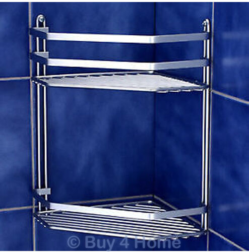 Chrome Satina Double Corner Caddy Bathroom Basket