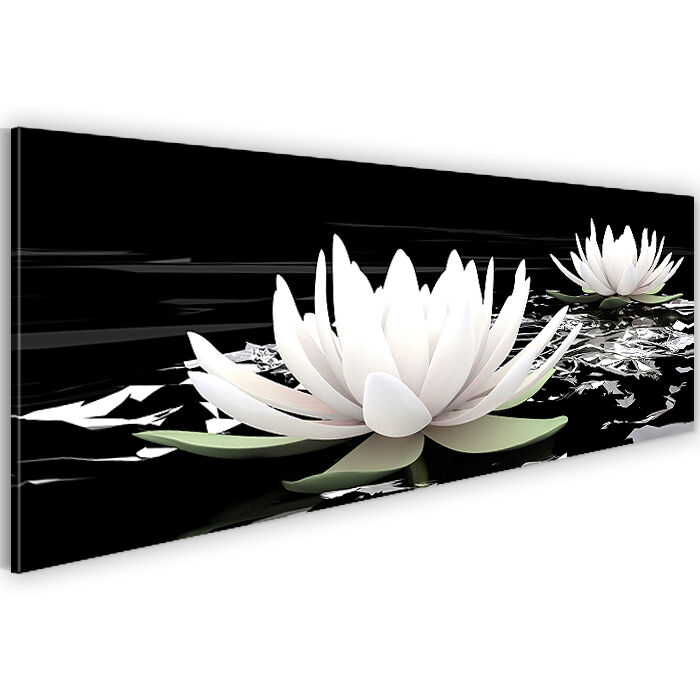 bild leinwand bilder 203311a kunstdruck blumen deko 110x40 schwarz wei 1tlg ebay. Black Bedroom Furniture Sets. Home Design Ideas