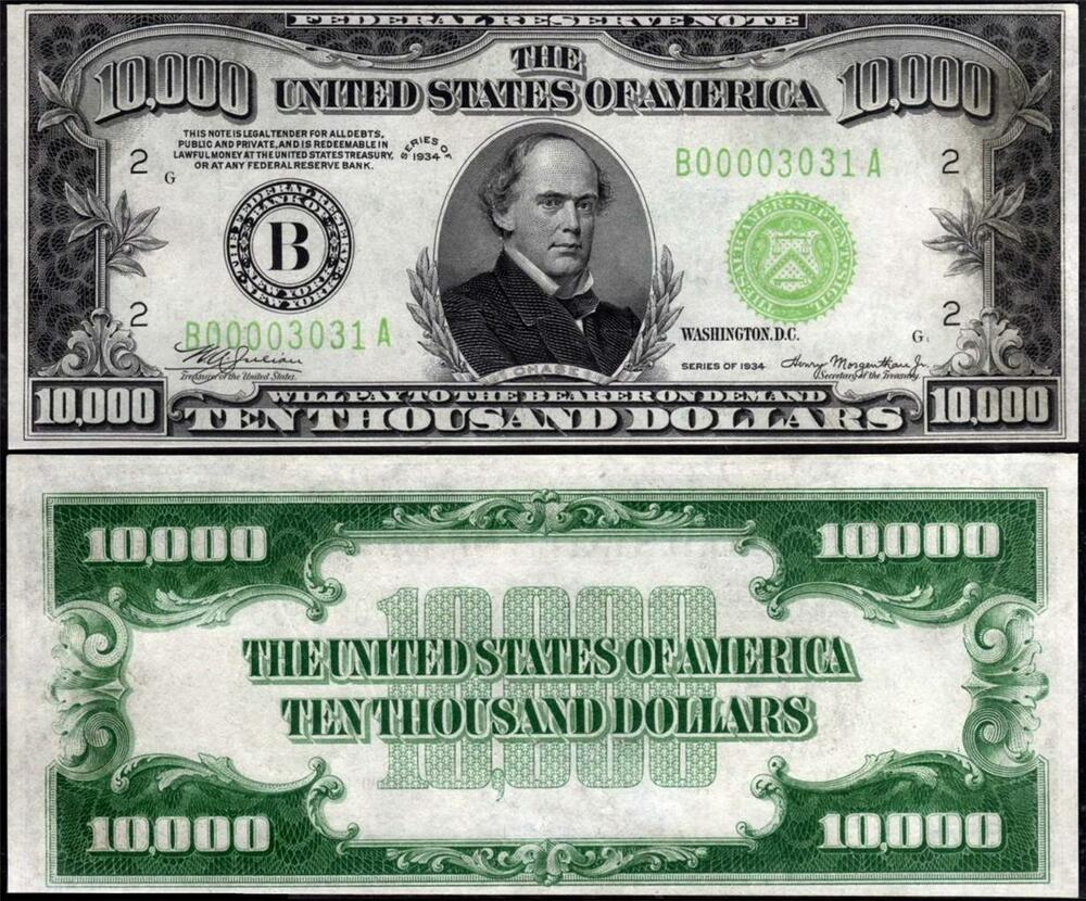TEN THOUSAND DOLLAR BILL GLOSSY POSTER PICTURE PHOTO chase coins 10000 money 115 | eBay