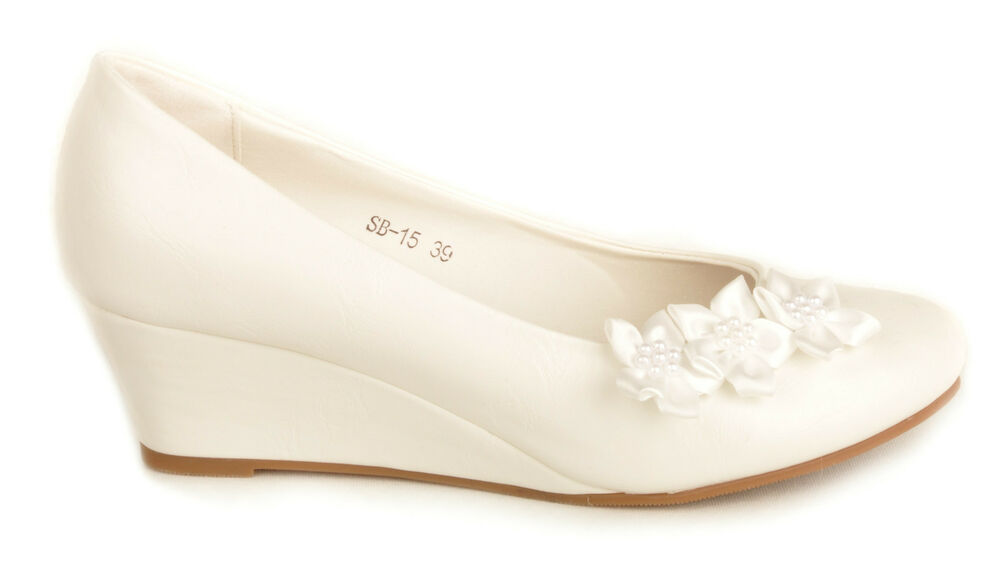 Off White Satin Flower Wedge Heels Wedding Pumps Bridal ...