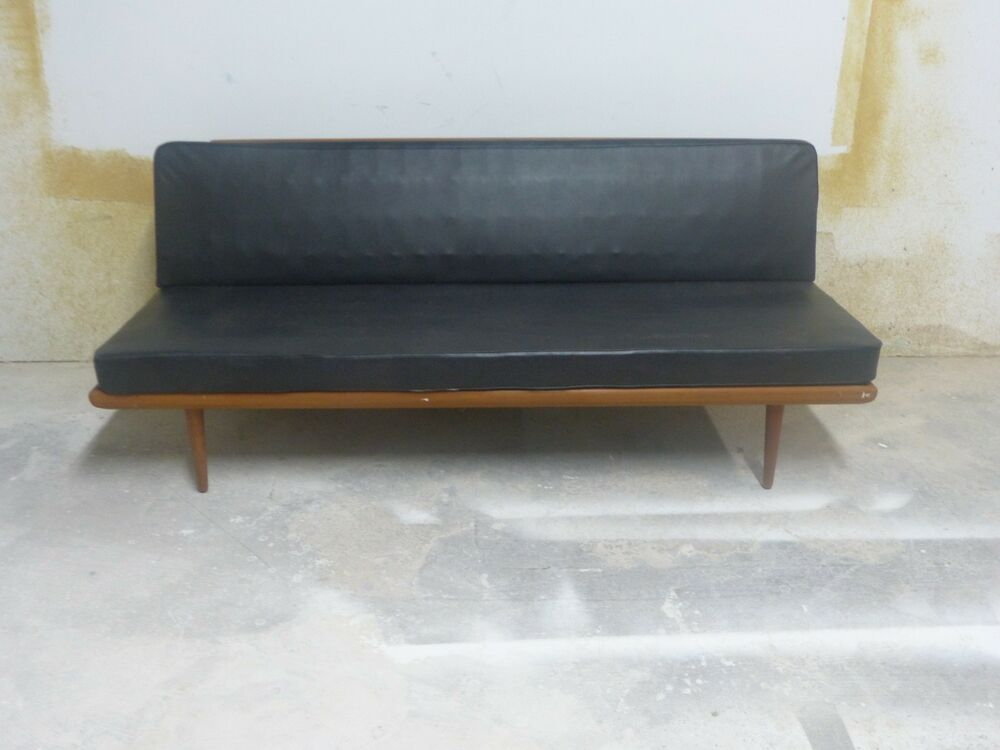 super 1950s mid century modern danish peter hvidt daybed sofa w black leather black leather mid century