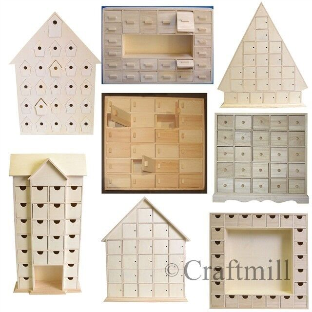 plain wooden advent calendars unfinished and ready to decorate make your own ebay. Black Bedroom Furniture Sets. Home Design Ideas