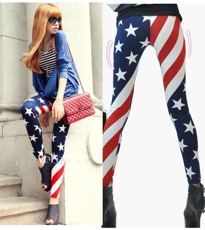 He has on a pair of Tipsy Elves American flag pants. These boldly patterned pantaloons feature stripes in red and white down one side and white stars on a blue backdrop on the other. These are great pants to wear to a themed costume party, a Fourth of July barbecue, or a Memorial Day tailgating event.5/5().