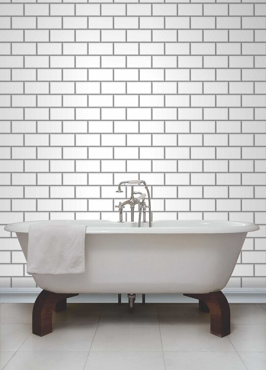 tile on a roll kitchen wallpaper white amp grey subway tile effect tiling on a roll 9467