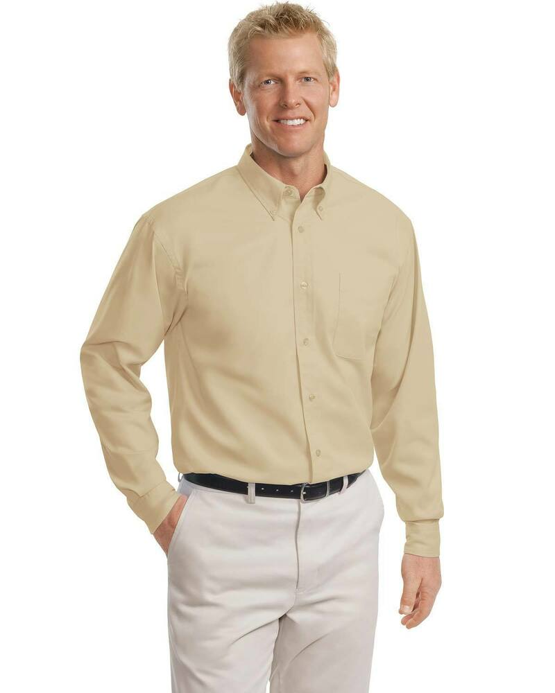 Port authority men 39 s big tall long sleeve button down for Tall mens dress shirts