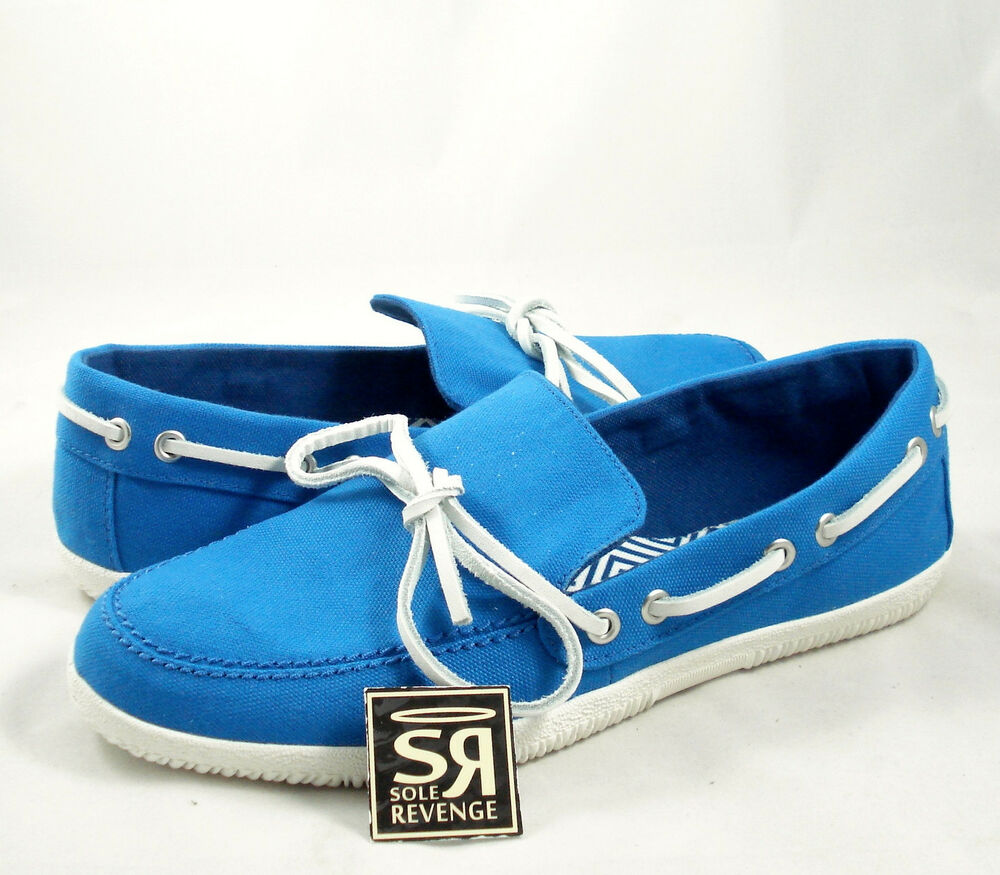 New 8 Adidas Blue Originals Mens Toe Touch Loafers White Boat Canvas Q20368   EBay