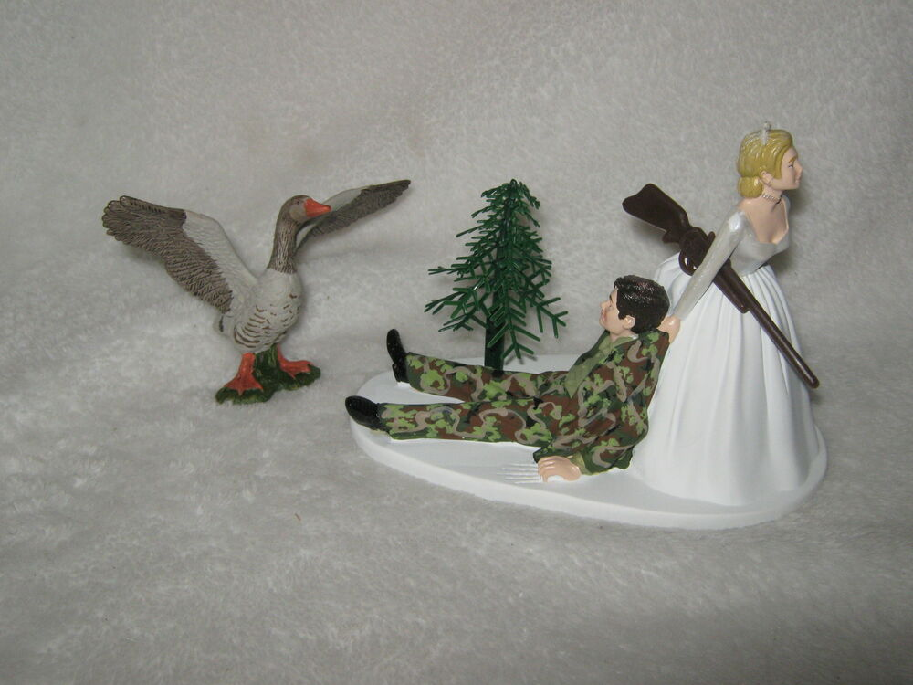 Wedding Party Reception Geese Fowl Cake Topper Camo
