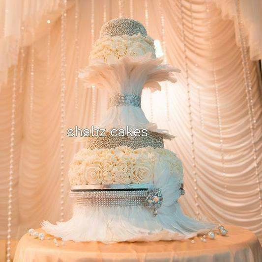 Diamante Amp Feather Wedding Cake Stand Many Feather Colours