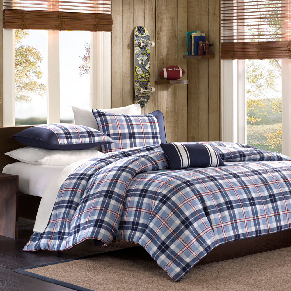 beautiful blue white grey red plaid boys cabin comforter set full queen twin xl ebay. Black Bedroom Furniture Sets. Home Design Ideas